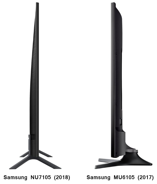 Diseño Samsung NU7105 vs. MU6105