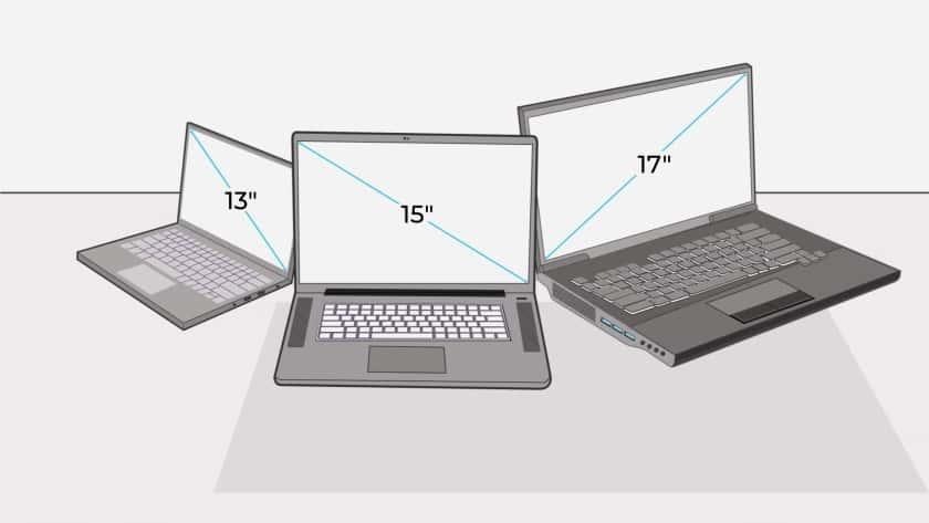 Tamaños de pantalla habituales en ordenadores portátiles