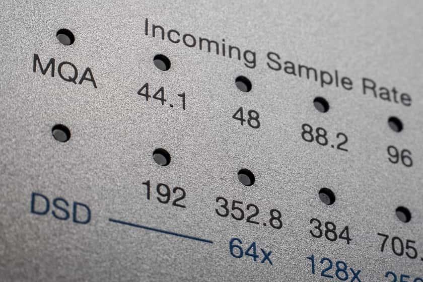 Frecuencia de muestra digital entrante panel frontal DacMagic 200M